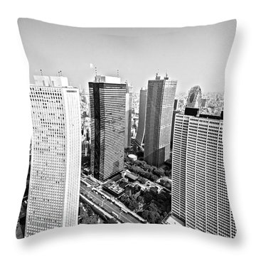 Tokyo Skyline Throw Pillow by Pravine Chester