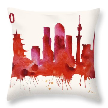 Tokyo Skyline Watercolor Poster - Cityscape Painting Artwork Throw Pillow by Beautify My Walls
