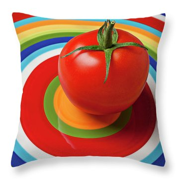 Tomato On Plate With Circles Throw Pillow by Garry Gay