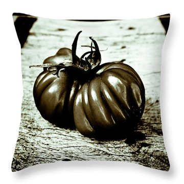 Throw Pillow featuring the photograph Tomato Still Life Black And White by Frank Tschakert