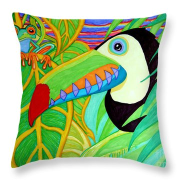 Toucan And Red Eyed Tree Frog Throw Pillow by Nick Gustafson