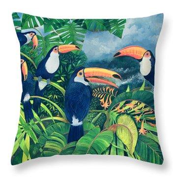 Toucan Talk Throw Pillow by Lisa Graa Jensen