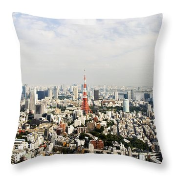 Tower And City View Throw Pillow by Bill Brennan - Printscapes
