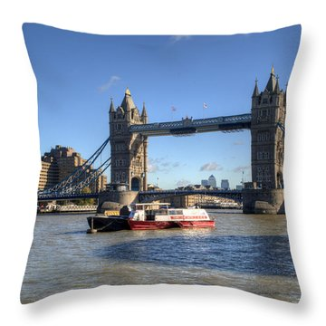 Tower Bridge With Canary Wharf In The Background Throw Pillow by Chris Day