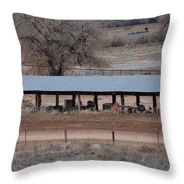 Tractor Port On The Ranch Throw Pillow by Rob Hans