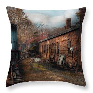 Train - Yard - The Train Yard Throw Pillow by Mike Savad