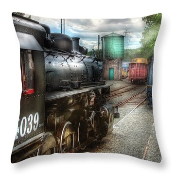 Train - Engine - 4039 - In The Train Yard  Throw Pillow by Mike Savad