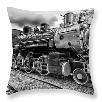 Train - Steam Engine Locomotive 385 In Black And White Throw Pillow by Paul Ward