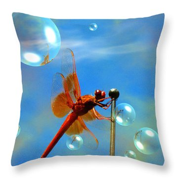 Transparent Red Dragonfly Throw Pillow by Joyce Dickens