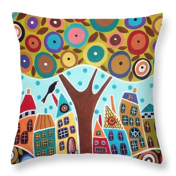 Tree Eight Houses And A Bird Throw Pillow by Karla Gerard