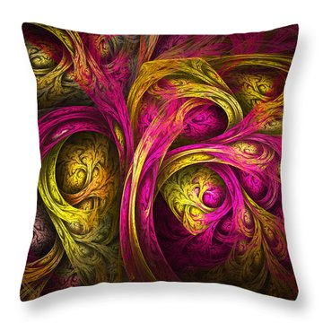 Tree Of Life In Pink And Yellow Throw Pillow by Tammy Wetzel