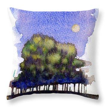 Trees At Moon Rise Throw Pillow by John D Benson