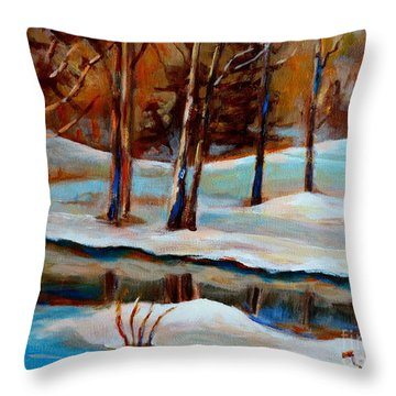 Trees At The Rivers Edge Throw Pillow by Carole Spandau