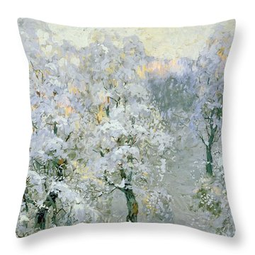 Trees In Wintry Silver Throw Pillow by Konstantin Ivanovich Gorbatov