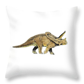 Triceratops Throw Pillow by Michael Vigliotti