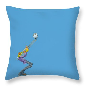 Trombone Throw Pillow by Jasper Oostland