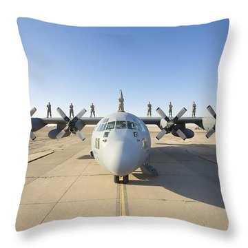 Troops Stand On The Wings Of A C-130 Throw Pillow by Terry Moore