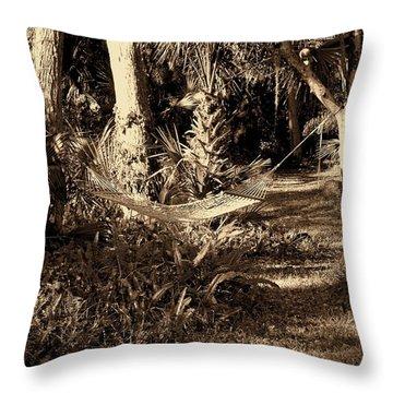 Tropical Hammock Throw Pillow by Susanne Van Hulst