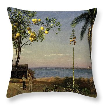 Tropical Scene Throw Pillow by Albert Bierstadt