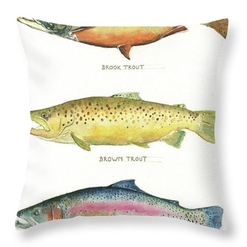 Trout Species Throw Pillow by Juan Bosco