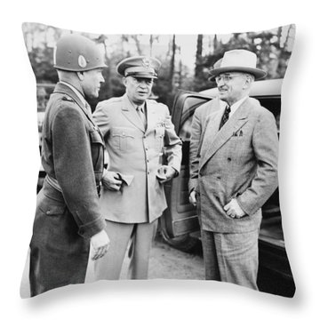 Truman Eisenhower And Hickey  Throw Pillow by War Is Hell Store