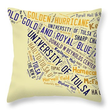 Tu Word Art University Of Tulsa Throw Pillow by Roberta Peake