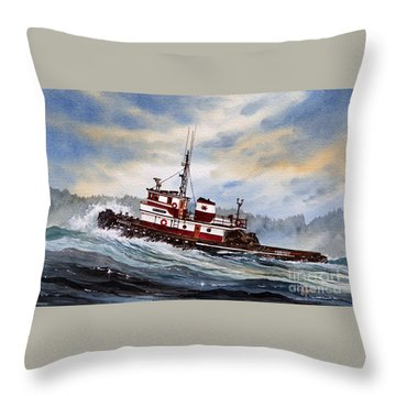 Tugboat Earnest Throw Pillow by James Williamson