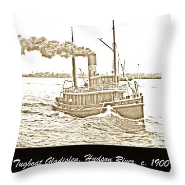 Throw Pillow featuring the photograph Tugboat Gladisfen Hudson River C 1900 Vintage Photograph by A Gurmankin