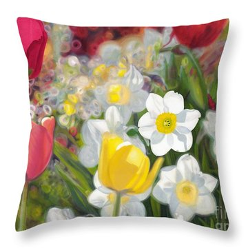 Tulips And Daffodils Throw Pillow by Nicole Shaw