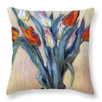 Tulips Throw Pillow by Claude Monet