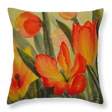 Tulips Throw Pillow by Joanne Smoley