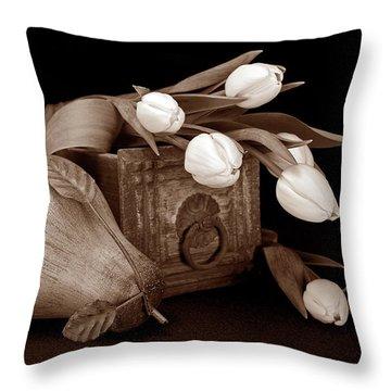 Tulips With Pear II Throw Pillow by Tom Mc Nemar