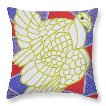 Turkey On Stained Glass Throw Pillow by Pat Scott