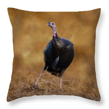 Turkey Trot Throw Pillow by Jai Johnson
