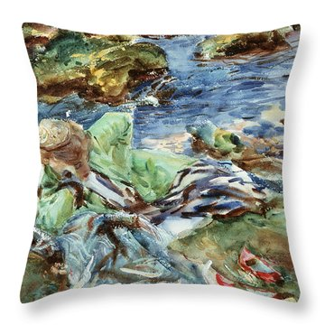 Turkish Woman By A Stream Throw Pillow by John Singer Sargent