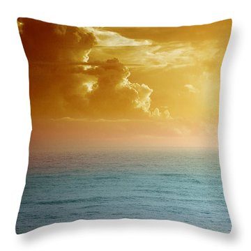 Turquoise Amber Sunrise Throw Pillow by Maria Eames