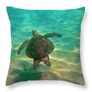 Turtle Sailing Over Sand Throw Pillow by Bette Phelan