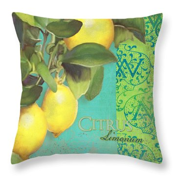 Tuscan Lemon Tree - Citrus Limonum Damask Throw Pillow by Audrey Jeanne Roberts