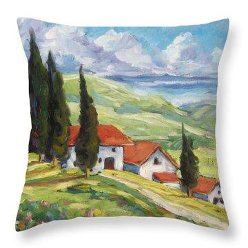 Tuscan Villas Throw Pillow by Richard T Pranke