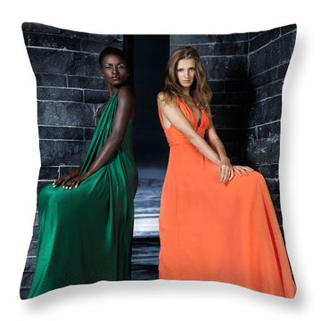 Two Beautiful Women In Elegant Long Dresses Throw Pillow by Oleksiy Maksymenko