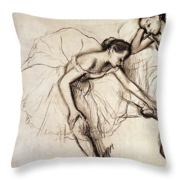 Two Dancers Resting Throw Pillow by Edgar Degas