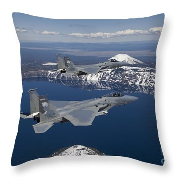 Two F-15 Eagles Fly Over Crater Lake Throw Pillow by HIGH-G Productions
