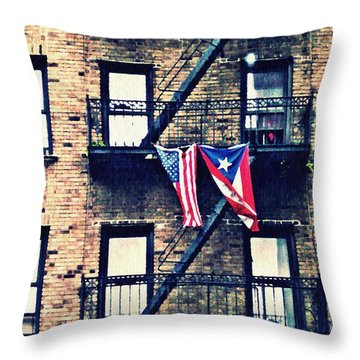 Two Flags In Washington Heights Throw Pillow by Sarah Loft
