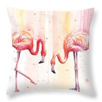 Two Flamingos Watercolor Throw Pillow by Olga Shvartsur
