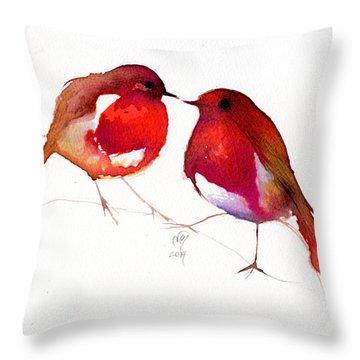 Two Little Birds Throw Pillow by Nancy Moniz