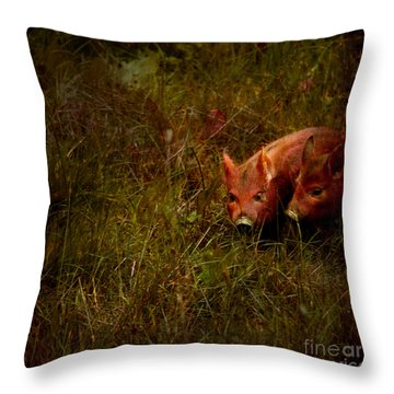 Two Piglets Throw Pillow by Angel  Tarantella
