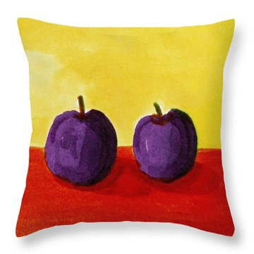 Two Plums Throw Pillow by Michelle Calkins