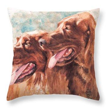 Two Redheads Throw Pillow by Debra Jones