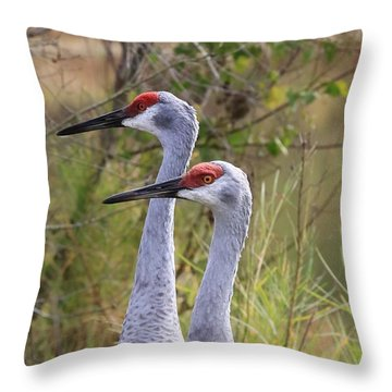 Two Sandhills In Green Throw Pillow by Carol Groenen