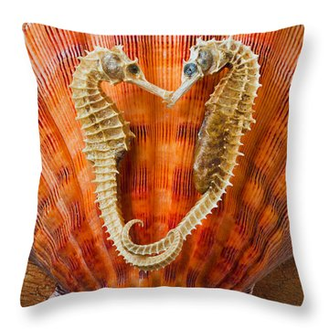 Two Seahorses On Seashell Throw Pillow by Garry Gay